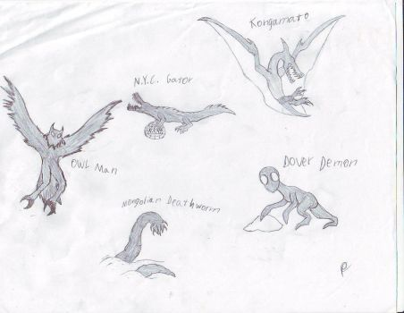 Cryptid Sketches 2 by Dragonsmana