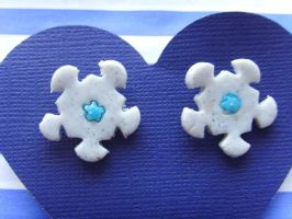 Round Snow Flake Studs by tyney123