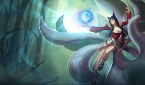 Ahri splash art by Aveldine