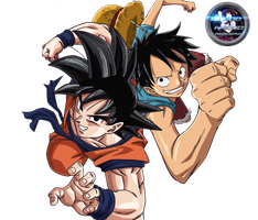 Luffy and Goku Render by BloodAkenoArt
