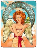 Mucha Angel Christmas Card by AriochIV