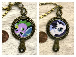 My Little Pony Rarity Spike Double Sided Pendant by elllenjean