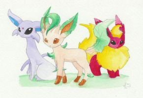 Espeon, Flareon and Leafeon by Lunamis