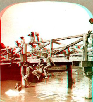Jumping Off a Bridge-anaglyph by stinglacson