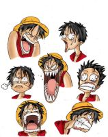 Luffy's expressions coloured by MiniAliceSuperstar