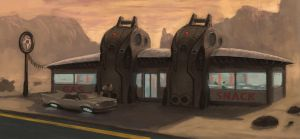 Speed Painting of the Day Vol.2 // Gas Station by KlausPillon