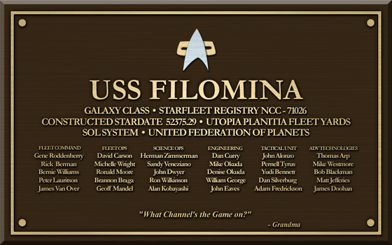 USS Filomina Tribute Plaque by LordTrekie