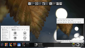 autumn desktop w/ large taskbar by fulllfrontal