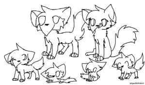 Cat family lineart by Jetpackkitteh54