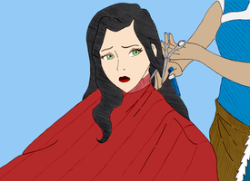 Korra tries Hairbending on Asami (colored) by NightTimeSorrow