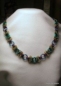 Butterfly weave chainmaille necklace by typhoid-lori