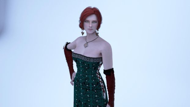 Triss Merigold Gown Render by DanyMafia