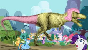 Fluttershy the T.Rex by LacitheHunter