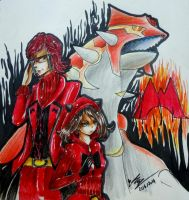 Maxie and May with Omega Groudon by Kyo-Chans