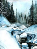 Winter's Cold watercolor by alex-odnoralov