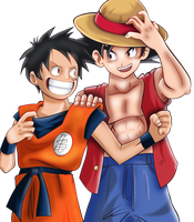 Luffy And Goku - Render by TheWolfMonster