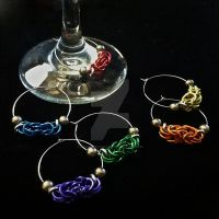 Rainbow Chainmaille Wine Charms by Rosie-Periannath