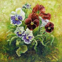 Pansies Oil Painting by Vincik