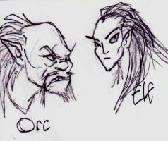 Orc and Elf by TheMorlock