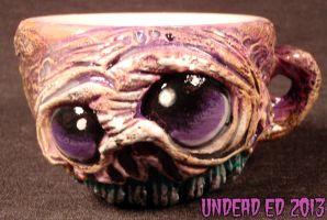 Zombie Raspberry Rot Deluxe Tea Cup By Undead Ed by Undead-Art