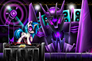 Vinyl scratch x Soundwave TFP by PinkRose2001