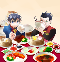 Sons to eat Chinese food by americaaan