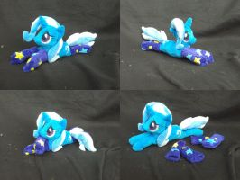 MLP FiM handmade plushie: Trixie, lying, in socks! by vulpinedesigns