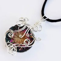 Wire Wrap Pressed Glass Button by Create-A-Pendant