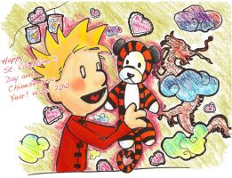 Calvin and Hobbes V-day+CNY by five-pm