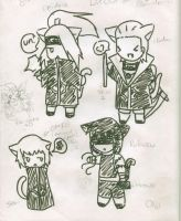 Akatsuki kitty doodles by OniNatsuyo