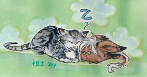 two napping fuzzballs by not-fun