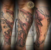 4 biomech freehand legsleeve by 2Face-Tattoo