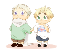 Chibi Russia and England by foxyjoy