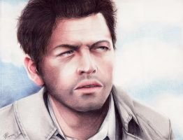 Misha Collins - Portrait Colored pencils by Kodomo-no-luna
