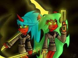 Scanty and Kneesocks by SharinganAce