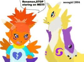 Rika transformed and Renamon by norngirl