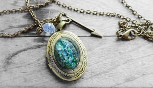 Green Opal Oval Glass Cabochon Locket Necklace by crystaland