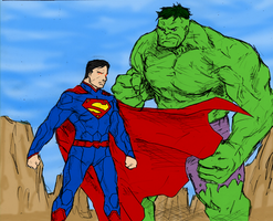 Superman and Hulk by spriteman1000