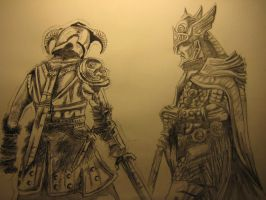 The Dragonborn and Talos by DavidTroas