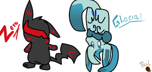 Chibi Zero (concept art) and Glacial (upside down! by TailTehEeveelution