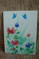 butterflys anf flowers watercolor on canvas by LightningChaser