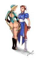 Cammy and Chun-li by laurasardinha