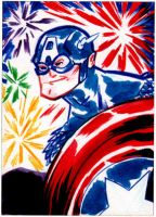 Captain America Sketch Card by sosnw