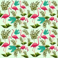 Pink Flamingos Pattern by Bluedarkat