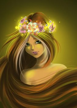 Flora with crown of flowers by fantazyme