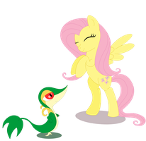 Fluttershy and Snivy by Elsdrake