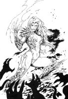 Witchblade cover inks by KayaHaiwatari