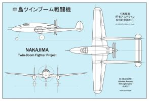 Nakajima twin-boom fighter (real WW2 project) by Bispro