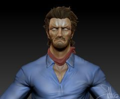 Clint Eastwood Zbrush WIP 3 by FoxHound1984