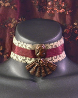 Beige and Burgundy Lace Choker with Fan and Cameo by MorganCrone
